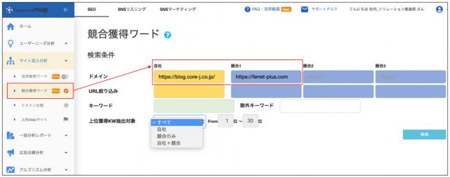 Keywordmap、競合調査