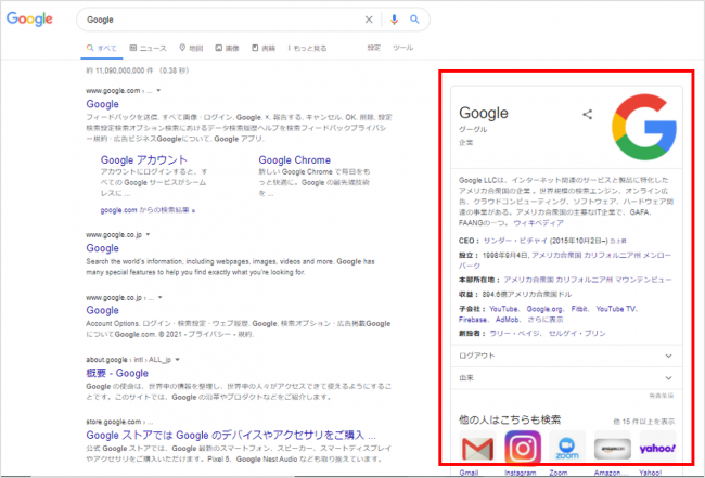 検索エンジンの仕組み:ナレッジパネル